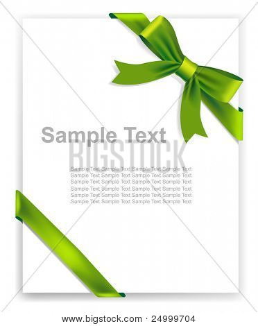 Vector green tape and bow, no size limit. proportion of A4 format vertical.