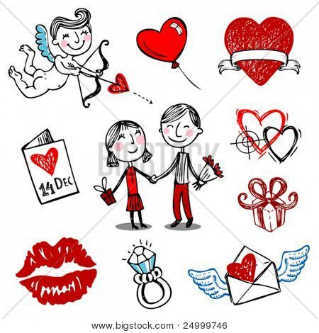 Set of nine Valentine vector illustrations, hand drawn style.
