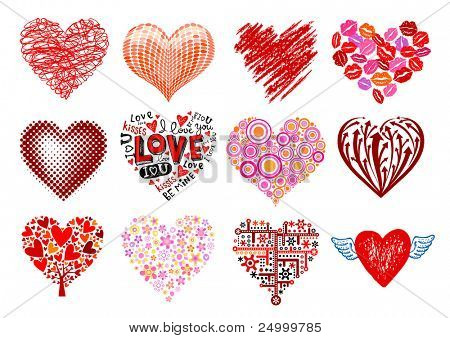 Set of 12 vector hearts, different styles.