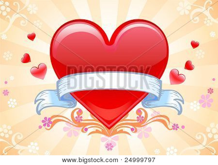 Valentine's greeting card, vector illustration, A4 horisontal proportion. No size limit.