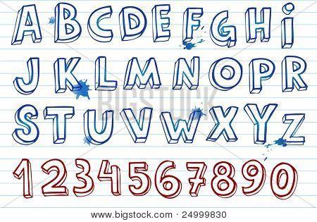 Doodle fonte, mão alfabeto escrito.