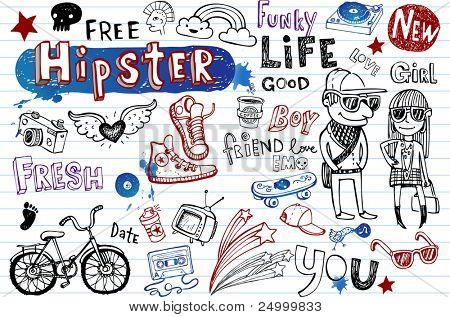 Hipsters doodle conjunto
