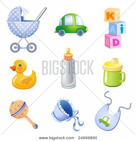 Set of 9 toys and accessories for baby boy.