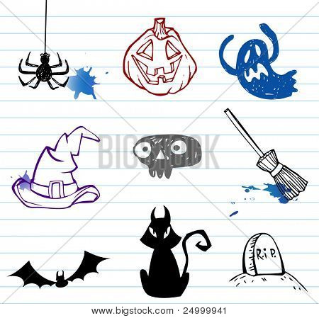 Halloween doodle set, vector illustration.