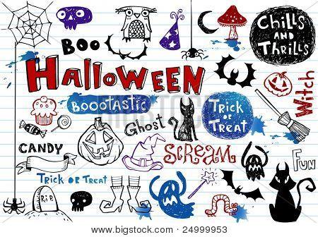 Halloween doodle set