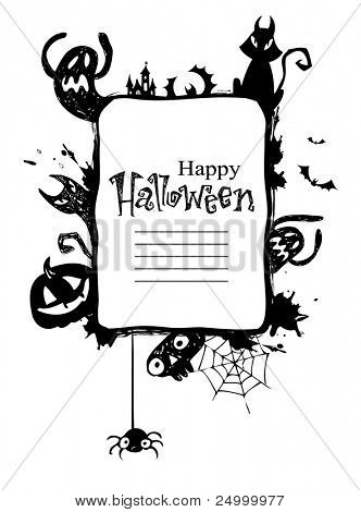 Halloween Frame with vector  Silhouettes of an Owl, Jack o Lanterns, Bats, cat, ghosts