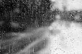 Rainy Traffic. View From Wet Window Of Car poster
