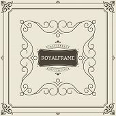 Vintage Ornament Greeting Card Vector Template. Retro Luxury Invitation, Royal Certificate. Flourish poster