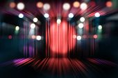 Blurred Theater Stage With Red Curtains And Spotlights, Abstract Image Of Concert Lighting poster