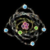 foto of neutrons  - Computer generated 3D illustration of Planetary model of atom on black