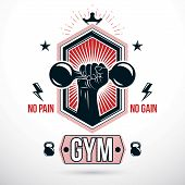 Graphic Vector Sign Created With Strong Athlete Biceps Arm, Dumb-bell And Kettle Bell Sport Equipmen poster