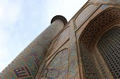 pic of mosk  - Minaret of Madrasa of Ulugh Beg in Samarkand Uzbekistan - JPG