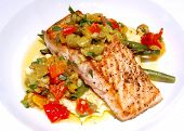image of gourmet food  - a gourmet salmon meal on a white plate - JPG