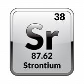 Strontium Symbol.chemical Element Of The Periodic Table On A Glossy White Background In A Silver Fra poster