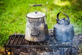 Camp tea pot and coffee pot at a Civil War reenactment poster