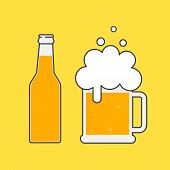 Beer Bottle And Mug Of Beer. Beer Icon. Mock Up Glass Beer. Symbol Template Logo. Isolated Vector Il poster