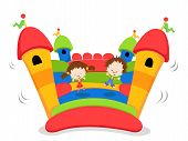 foto of jumping  - Group Of Kids Jumping On A Bouncy Castle - JPG