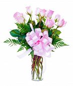 picture of one dozen roses  - One dozen pink roses flower arrangement in glass vase for Valentine - JPG