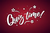Quiz Time Lettering Card, Banner. Beautiful Greeting Scratched Calligraphy White Text Word Stars. Ha poster