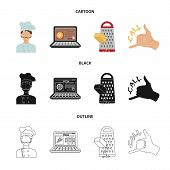 Cook, Order By Phone, Grated Cheese, Ordering A Face Gesture.pizza And Pizzeria Set Collection Icons poster