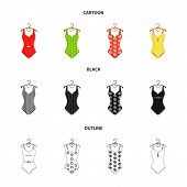 Different Kinds Of Swimsuits. Swimsuits Set Collection Icons In Cartoon, Black, Outline Style Vector poster