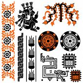 pic of mayan  - Vector image of ancient american patterns on white - JPG