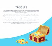 Treasure Poster Precious Treasures In Heavy Chest. Medieval Money Hidden In Containers Vector. Shiny poster