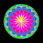 stock photo of kolam  - Colourful rangoli design popular during deepavali celebrations - JPG