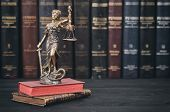Law And Justice, Scales Of Justice, Justitia, Lady Justice, Law Library Concept, Law Books In The Ba poster