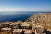 Stone Masonry And Round Volcanic Stone Ruins And Remainings, Ancient Thira, Santorini, Greece. Photo poster