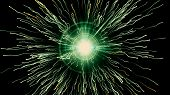 Particle Collision And Explosion. Bright Green Particles With Streams Collide And Create Explosion S poster