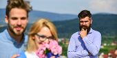 Lovers Hugs Outdoor Flirt Romance Relations. Infidelity Concept. Couple Romantic Date Lovers Bouquet poster