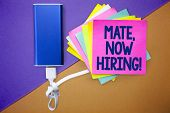 Word Writing Text Mate, Now Hiring Motivational Call. Business Concept For Workforce Wanted Employee poster