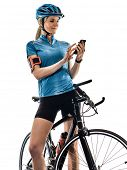 one caucasian cyclist woman cycling riding bicycle telephone isolated on white background poster