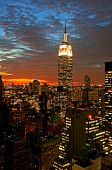 image of empire state building  - New York City midtown skyline at dark - JPG