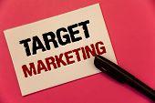 Text Sign Showing Target Marketing. Conceptual Photo Market Segmentation Audience Targeting Customer poster