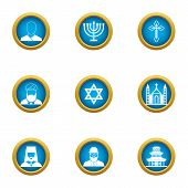 Choice Of Religion Icons Set. Flat Set Of 9 Choice Of Religion Vector Icons For Web Isolated On Whit poster