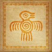 Decorative Ethnic Border On A Piece Of Parchment. Native Americans Symbol Of Bird. poster