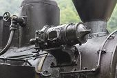 Steam Locomotive Black Mechanical Part Detail Close-up poster