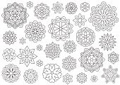 Outline Doodle Flowers For Adult Coloring Book. Beautiful Floral Background For Color Artwork. Monoc poster