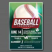 Baseball Poster Vector. Baseball Ball. Design For Sport Bar Promotion. Baseball Club, Academy Flyer. poster