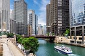 Chicago Skyline. Chicago Downtown And Chicago River With Bridges During Sunny Day. poster