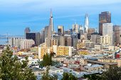 San Francisco downtown skyline Aerial view at sunset from Ina Coolbrith Park Hill in San Francisco,  poster
