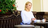 Great Start Of Day. Woman Elegant Calm Face Have Coffee Cafe Terrace Outdoors. Girl Drink Coffee Eve poster