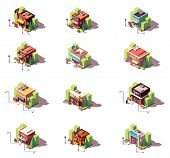 Vector Isometric Shop And Stores Icon Set. Includes Auto Parts Shop, Antique And Souvenir Gift Shops poster