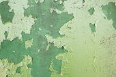 Green Metal Plate With Cracked Paint And Big Paint Spots Because Of Time As Background, Metal Wall W poster
