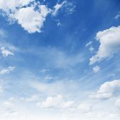 stock photo of cumulus-clouds  - Blue sky with white clouds - JPG