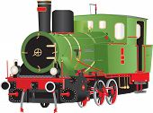A Vintage Green Red And Black Six Wheeled Steam Tank Locomotive With Brass Fittings Isolated On Whit poster