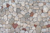 Wall, Masonry Of Natural Stone Without Cement. Granite And Marble Cobblestones. poster