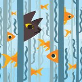 Curious Kitty Watching Aquarium Fish Swimming Among Seaweed. Conceptual Artwork. Vector Illustration poster